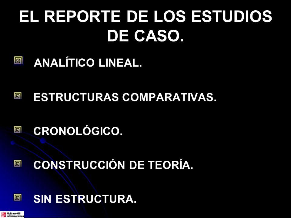 EL REPORTE DE LOS ESTUDIOS DE CASO. ANALÍTICO LINEAL. ESTRUCTURAS COMPARATIVAS. CRONOLÓGICO. CONSTRUCCIÓN DE TEORÍA. SIN ESTRUCTURA.