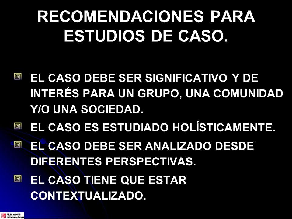 RECOMENDACIONES PARA ESTUDIOS DE CASO. EL CASO DEBE SER SIGNIFICATIVO Y DE INTERÉS PARA UN GRUPO, UNA COMUNIDAD Y/O UNA SOCIEDAD. EL CASO ES ESTUDIADO