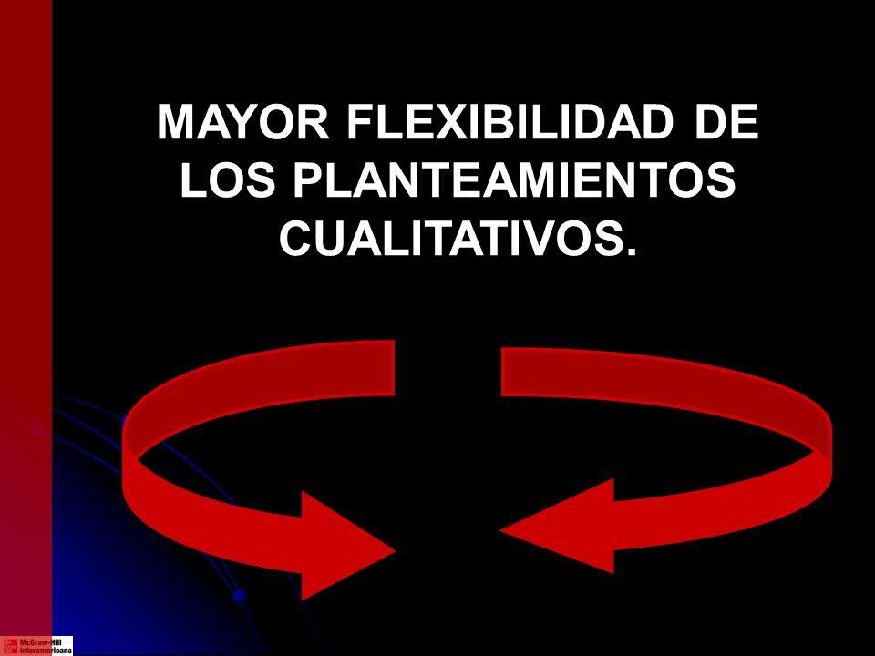MAYOR FLEXIBILIDAD DE LOS PLANTEAMIENTOS CUALITATIVOS.