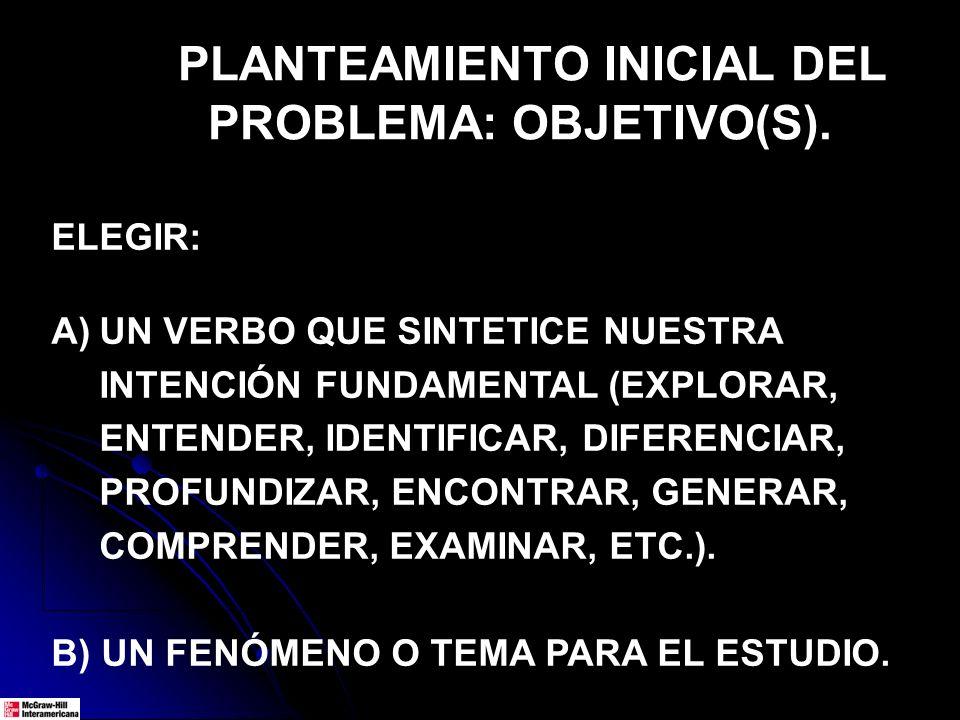 PLANTEAMIENTO INICIAL DEL PROBLEMA: OBJETIVO(S). ELEGIR: A)UN VERBO QUE SINTETICE NUESTRA INTENCIÓN FUNDAMENTAL (EXPLORAR, ENTENDER, IDENTIFICAR, DIFE