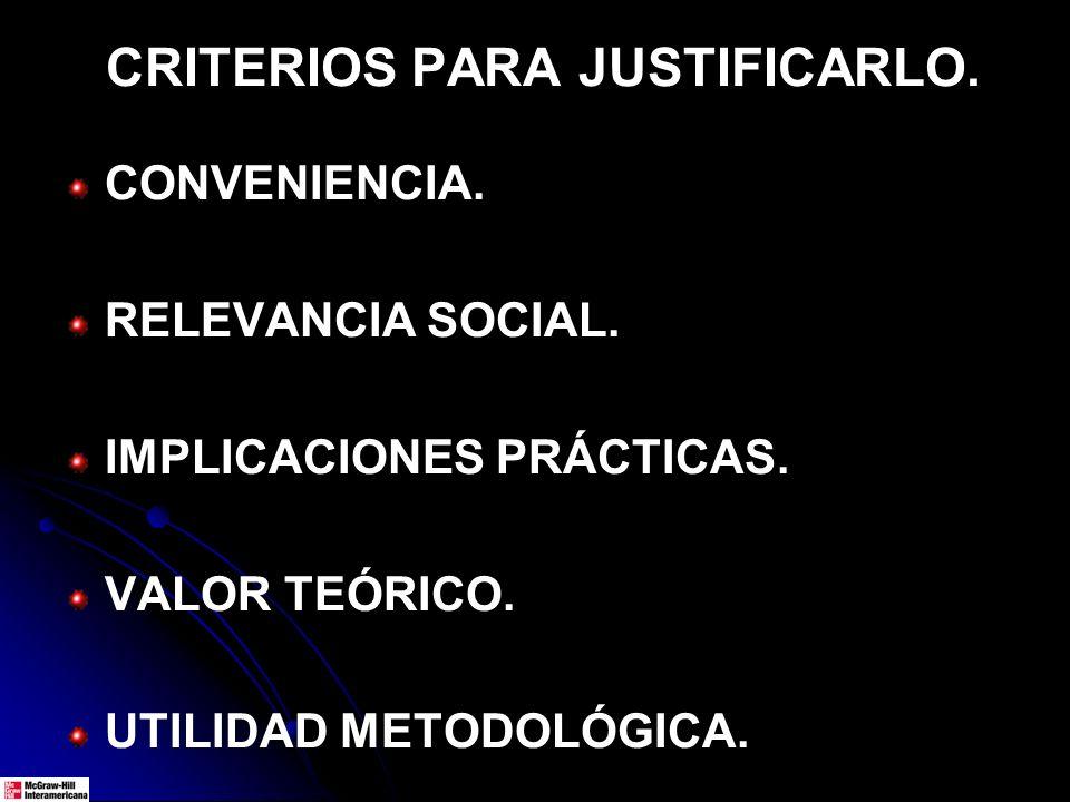 CRITERIOS PARA JUSTIFICARLO. CONVENIENCIA. RELEVANCIA SOCIAL. IMPLICACIONES PRÁCTICAS. VALOR TEÓRICO. UTILIDAD METODOLÓGICA.