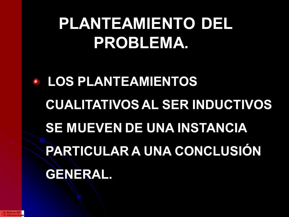 PLANTEAMIENTO DEL PROBLEMA. LOS PLANTEAMIENTOS CUALITATIVOS AL SER INDUCTIVOS SE MUEVEN DE UNA INSTANCIA PARTICULAR A UNA CONCLUSIÓN GENERAL.