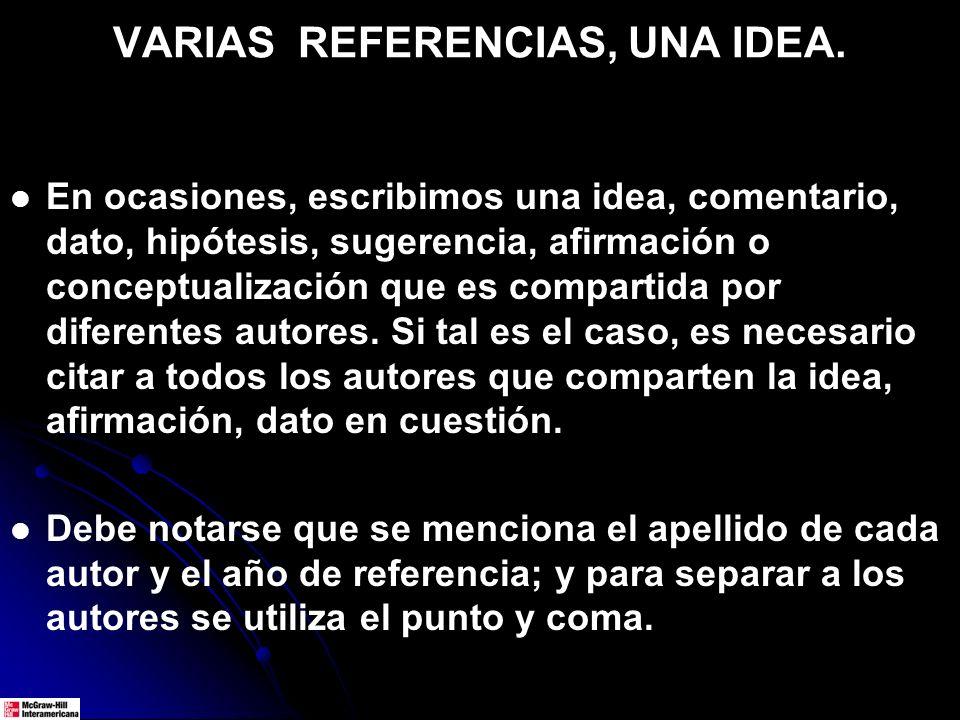 VARIAS REFERENCIAS, UNA IDEA. En ocasiones, escribimos una idea, comentario, dato, hipótesis, sugerencia, afirmación o conceptualización que es compar