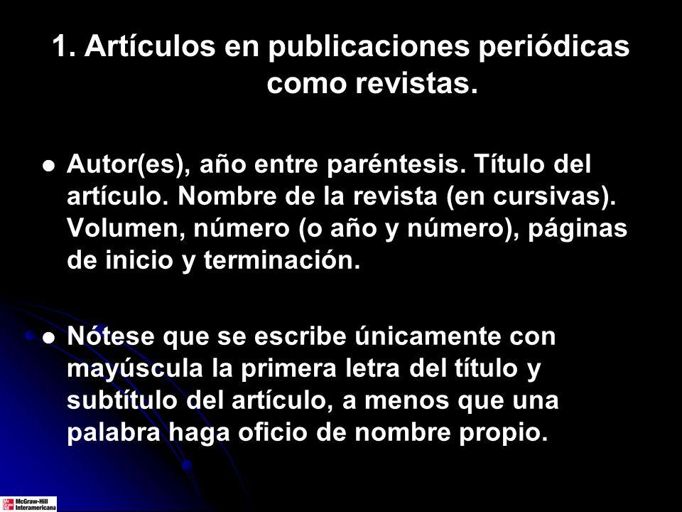 1. Artículos en publicaciones periódicas como revistas. Autor(es), año entre paréntesis. Título del artículo. Nombre de la revista (en cursivas). Volu