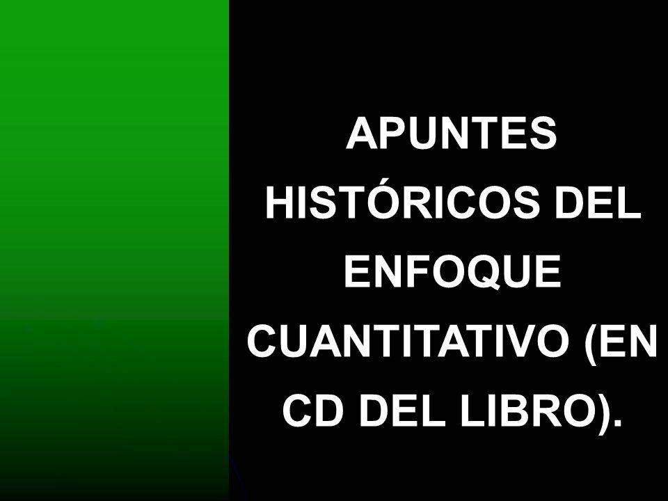 APUNTES HISTÓRICOS DEL ENFOQUE CUANTITATIVO (EN CD DEL LIBRO).