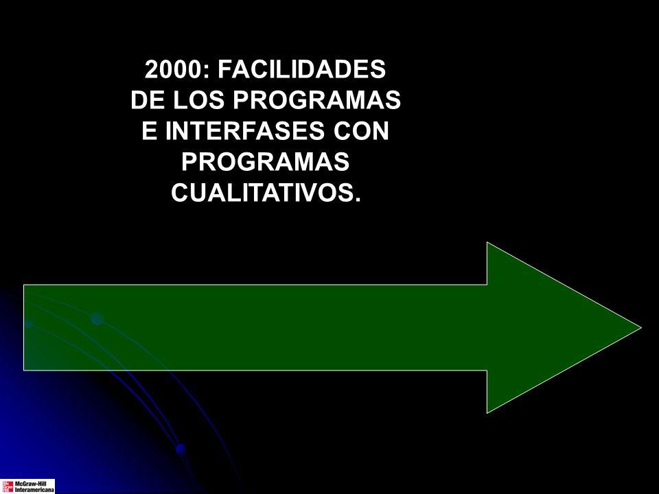 2000: FACILIDADES DE LOS PROGRAMAS E INTERFASES CON PROGRAMAS CUALITATIVOS.