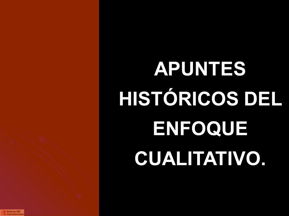 APUNTES HISTÓRICOS DEL ENFOQUE CUALITATIVO.