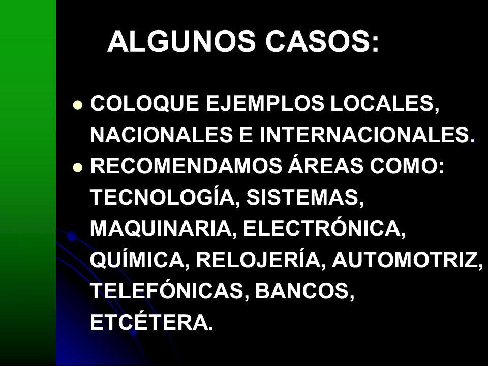 ALGUNOS CASOS: COLOQUE EJEMPLOS LOCALES,. NACIONALES E INTERNACIONALES. RECOMENDAMOS ÁREAS COMO: TECNOLOGÍA, SISTEMAS, MAQUINARIA, ELECTRÓNICA, QUÍMIC