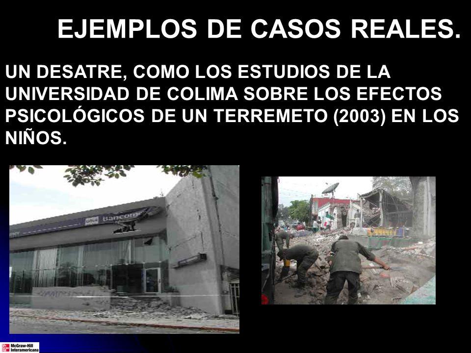 UN DESATRE, COMO LOS ESTUDIOS DE LA UNIVERSIDAD DE COLIMA SOBRE LOS EFECTOS PSICOLÓGICOS DE UN TERREMETO (2003) EN LOS NIÑOS. EJEMPLOS DE CASOS REALES