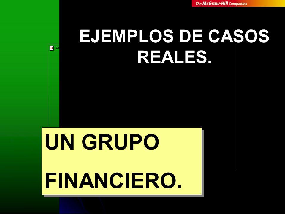 UN GRUPO FINANCIERO. UN GRUPO FINANCIERO. EJEMPLOS DE CASOS REALES.