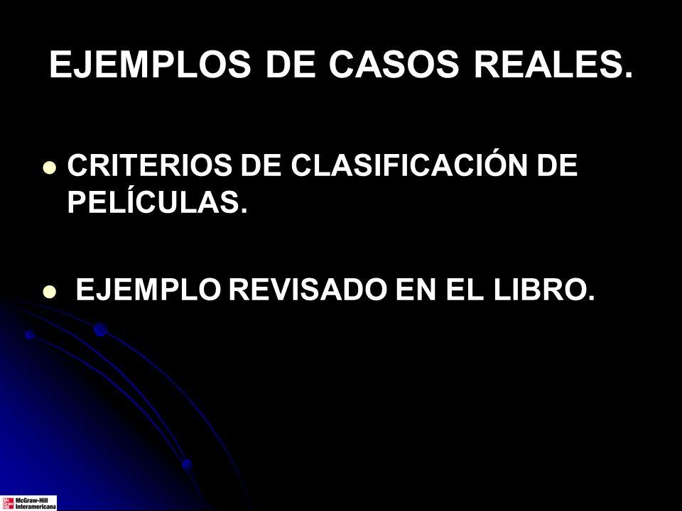 EJEMPLOS DE CASOS REALES. CRITERIOS DE CLASIFICACIÓN DE PELÍCULAS. EJEMPLO REVISADO EN EL LIBRO.