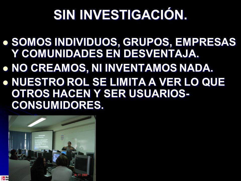 SIN INVESTIGACIÓN. SOMOS INDIVIDUOS, GRUPOS, EMPRESAS Y COMUNIDADES EN DESVENTAJA. SOMOS INDIVIDUOS, GRUPOS, EMPRESAS Y COMUNIDADES EN DESVENTAJA. NO