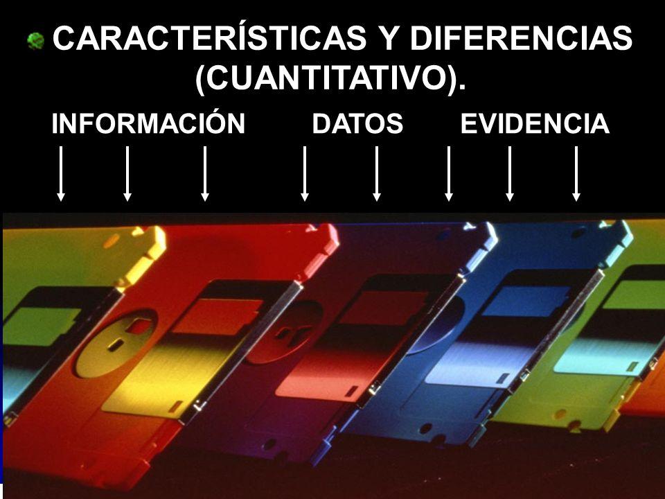 CARACTERÍSTICAS Y DIFERENCIAS (CUANTITATIVO). INFORMACIÓN DATOS EVIDENCIA