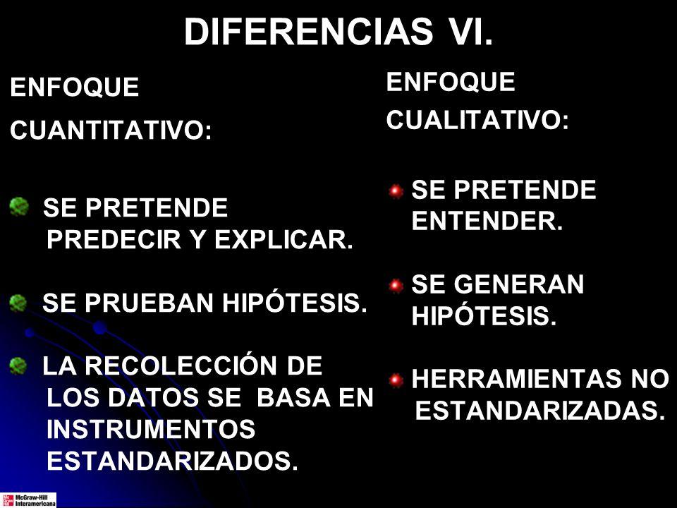 DIFERENCIAS VII.ENFOQUE CUANTITATIVO: AMPLIA GENERALIZACIÓN DE RESULTADOS.