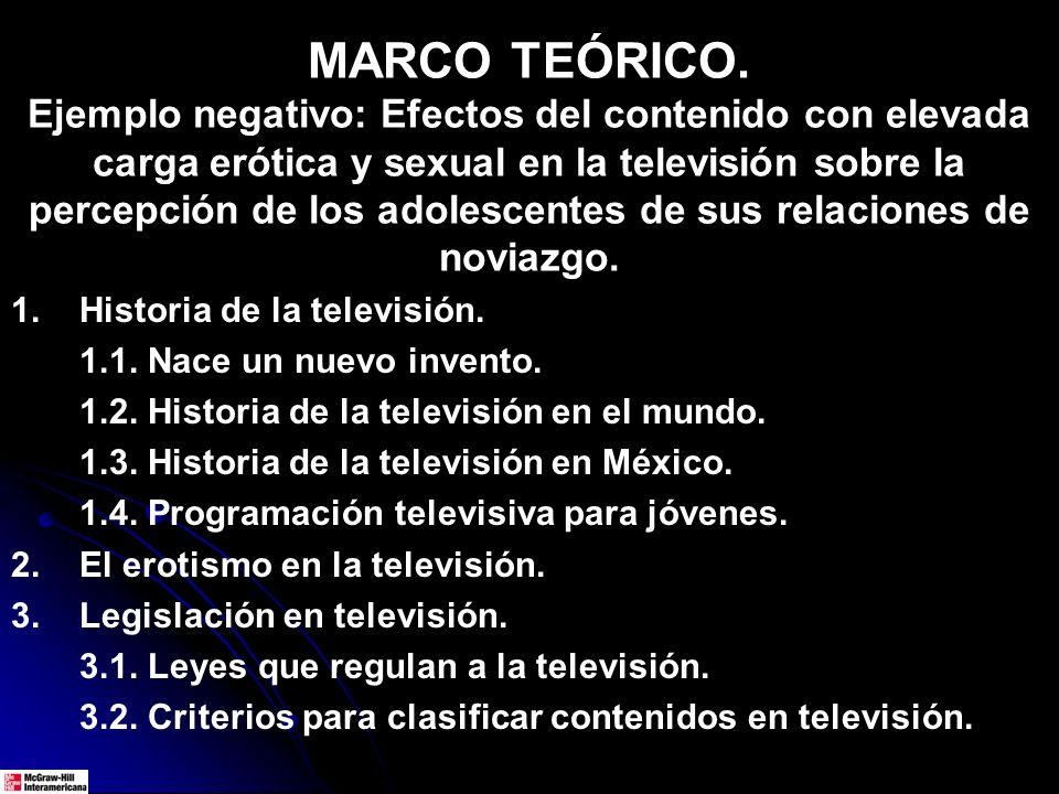 MARCO TEÓRICO. Ejemplo negativo: Efectos del contenido con elevada carga erótica y sexual en la televisión sobre la percepción de los adolescentes de