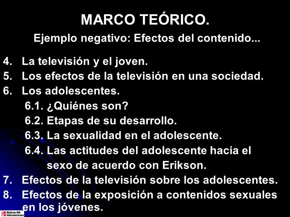 MARCO TEÓRICO. Ejemplo negativo: Efectos del contenido... 4. La televisión y el joven. 5. Los efectos de la televisión en una sociedad. 6. Los adolesc