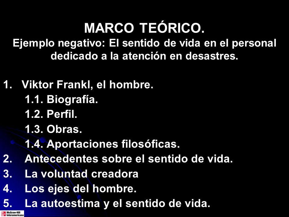 MARCO TEÓRICO. Ejemplo negativo: El sentido de vida en el personal dedicado a la atención en desastres. 1. Viktor Frankl, el hombre. 1.1. Biografía. 1