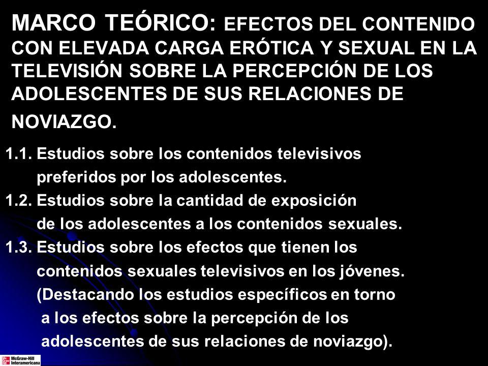 MARCO TEÓRICO: EFECTOS DEL CONTENIDO CON ELEVADA CARGA ERÓTICA Y SEXUAL EN LA TELEVISIÓN SOBRE LA PERCEPCIÓN DE LOS ADOLESCENTES DE SUS RELACIONES DE