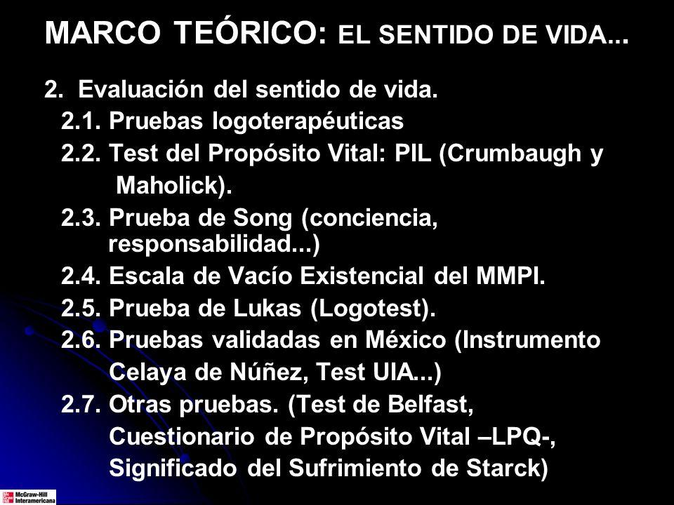 MARCO TEÓRICO: EL SENTIDO DE VIDA... 2. Evaluación del sentido de vida. 2.1. Pruebas logoterapéuticas 2.2. Test del Propósito Vital: PIL (Crumbaugh y
