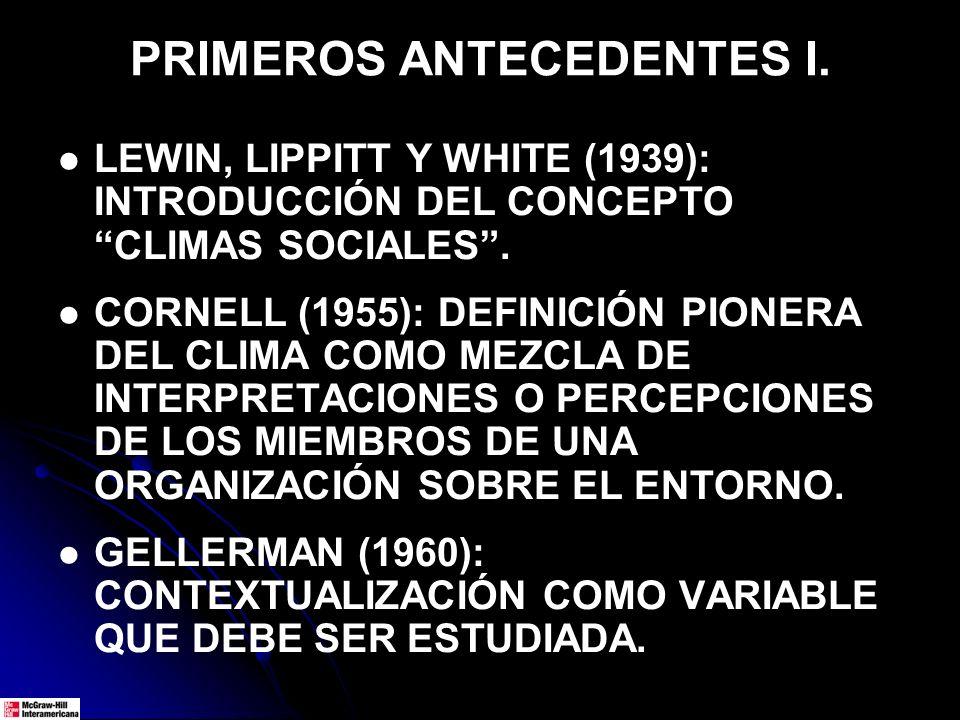 PRIMEROS ANTECEDENTES I. LEWIN, LIPPITT Y WHITE (1939): INTRODUCCIÓN DEL CONCEPTO CLIMAS SOCIALES. CORNELL (1955): DEFINICIÓN PIONERA DEL CLIMA COMO M