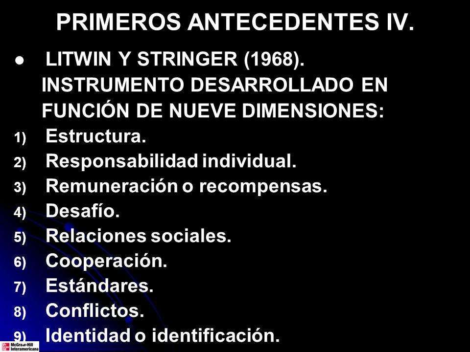PRIMEROS ANTECEDENTES IV. LITWIN Y STRINGER (1968). INSTRUMENTO DESARROLLADO EN FUNCIÓN DE NUEVE DIMENSIONES: 1) 1) Estructura. 2) 2) Responsabilidad
