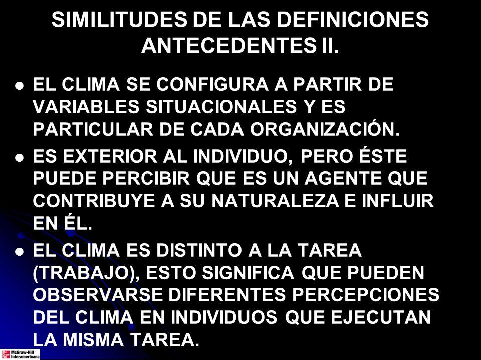 SIMILITUDES DE LAS DEFINICIONES ANTECEDENTES II. EL CLIMA SE CONFIGURA A PARTIR DE VARIABLES SITUACIONALES Y ES PARTICULAR DE CADA ORGANIZACIÓN. ES EX