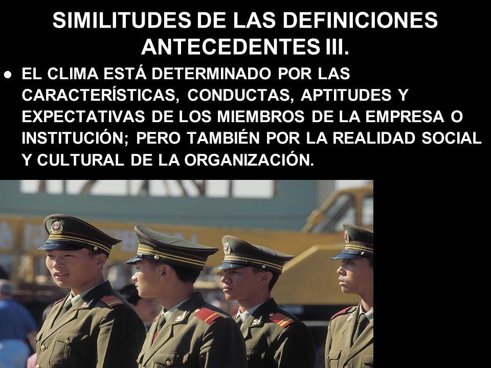 SIMILITUDES DE LAS DEFINICIONES ANTECEDENTES III. EL CLIMA ESTÁ DETERMINADO POR LAS CARACTERÍSTICAS, CONDUCTAS, APTITUDES Y EXPECTATIVAS DE LOS MIEMBR