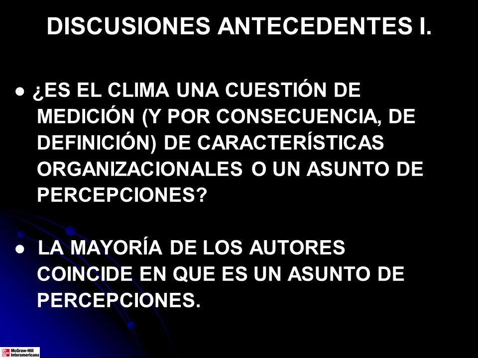 DISCUSIONES ANTECEDENTES I. ¿ES EL CLIMA UNA CUESTIÓN DE MEDICIÓN (Y POR CONSECUENCIA, DE DEFINICIÓN) DE CARACTERÍSTICAS ORGANIZACIONALES O UN ASUNTO