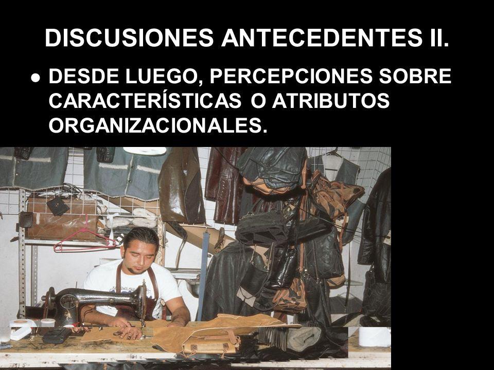 DISCUSIONES ANTECEDENTES II. DESDE LUEGO, PERCEPCIONES SOBRE CARACTERÍSTICAS O ATRIBUTOS ORGANIZACIONALES.