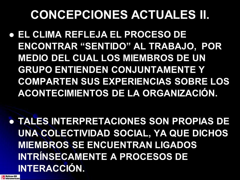 CONCEPCIONES ACTUALES II. EL CLIMA REFLEJA EL PROCESO DE ENCONTRAR SENTIDO AL TRABAJO, POR MEDIO DEL CUAL LOS MIEMBROS DE UN GRUPO ENTIENDEN CONJUNTAM