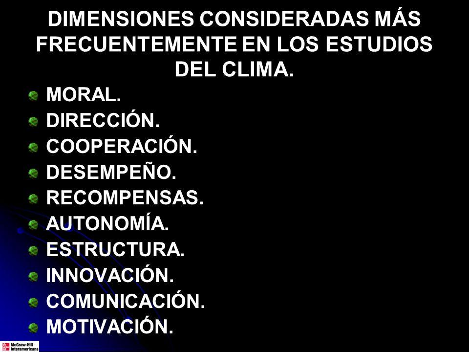 DIMENSIONES CONSIDERADAS MÁS FRECUENTEMENTE EN LOS ESTUDIOS DEL CLIMA. MORAL. DIRECCIÓN. COOPERACIÓN. DESEMPEÑO. RECOMPENSAS. AUTONOMÍA. ESTRUCTURA. I