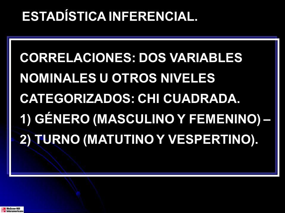 ESTADÍSTICA INFERENCIAL. CORRELACIONES: DOS VARIABLES NOMINALES U OTROS NIVELES CATEGORIZADOS: CHI CUADRADA. 1) GÉNERO (MASCULINO Y FEMENINO) – 2) TUR