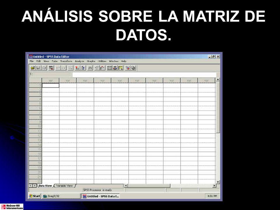 ANÁLISIS SOBRE LA MATRIZ DE DATOS.