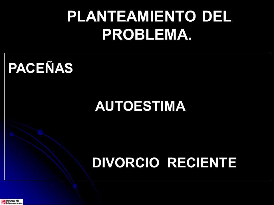 PACEÑAS AUTOESTIMA DIVORCIO RECIENTE PLANTEAMIENTO DEL PROBLEMA.