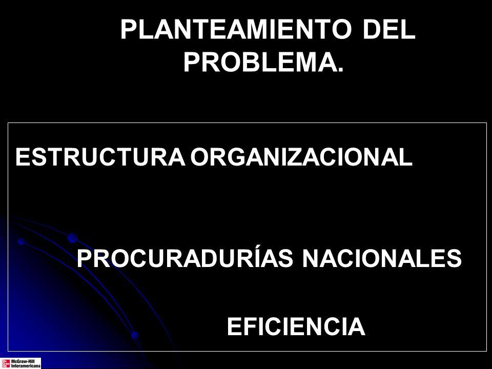 ESTRUCTURA ORGANIZACIONAL PROCURADURÍAS NACIONALES EFICIENCIA PLANTEAMIENTO DEL PROBLEMA.