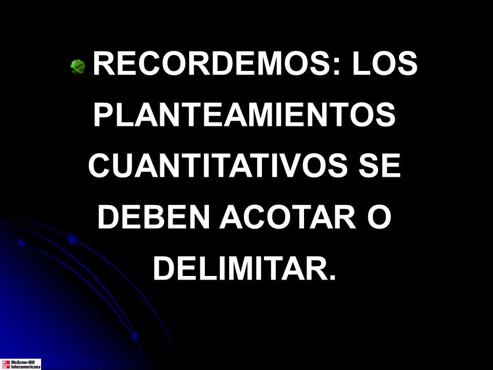 RECORDEMOS: LOS PLANTEAMIENTOS CUANTITATIVOS SE DEBEN ACOTAR O DELIMITAR.