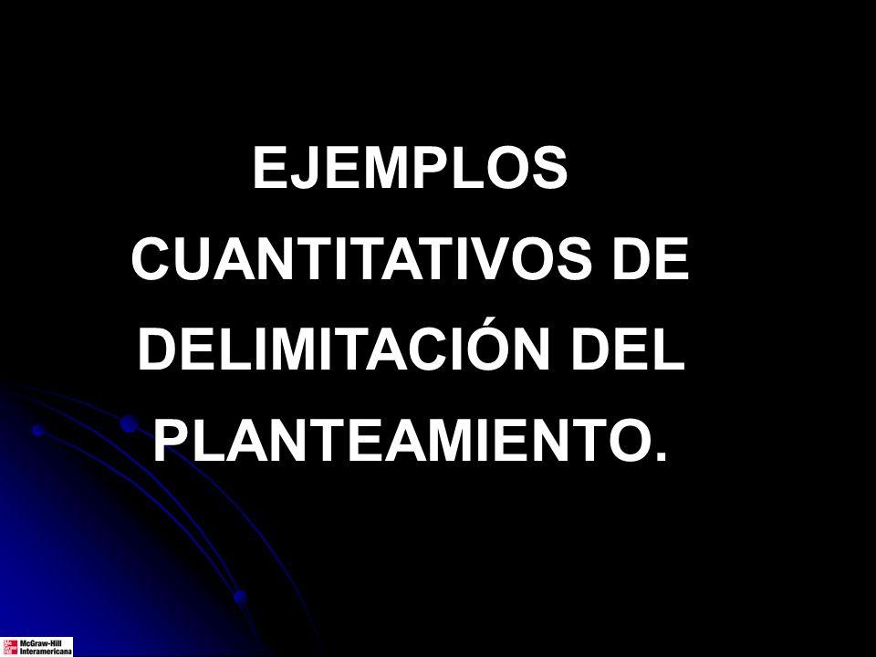 EJEMPLOS CUANTITATIVOS DE DELIMITACIÓN DEL PLANTEAMIENTO.