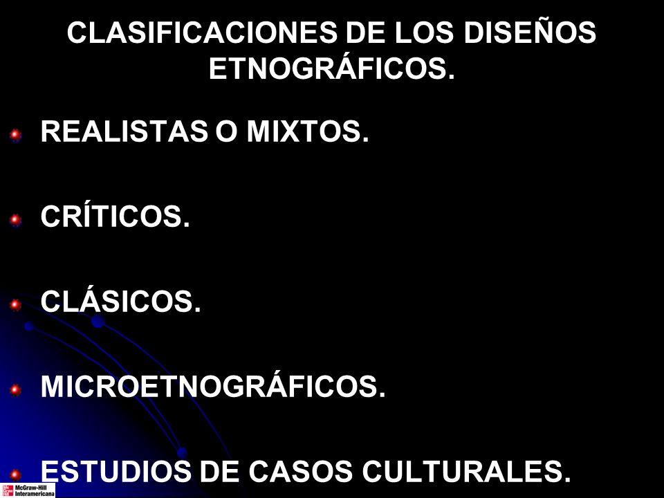 CLASIFICACIONES DE LOS DISEÑOS ETNOGRÁFICOS. REALISTAS O MIXTOS. CRÍTICOS. CLÁSICOS. MICROETNOGRÁFICOS. ESTUDIOS DE CASOS CULTURALES.
