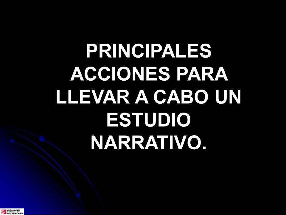 PRINCIPALES ACCIONES PARA LLEVAR A CABO UN ESTUDIO NARRATIVO.
