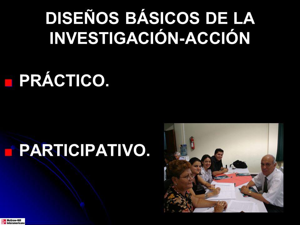 DISEÑOS BÁSICOS DE LA INVESTIGACIÓN-ACCIÓN PRÁCTICO. PARTICIPATIVO.