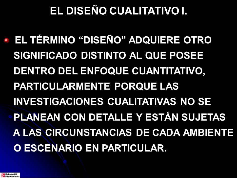 EL DISEÑO CUALITATIVO I. EL TÉRMINO DISEÑO ADQUIERE OTRO SIGNIFICADO DISTINTO AL QUE POSEE DENTRO DEL ENFOQUE CUANTITATIVO, PARTICULARMENTE PORQUE LAS