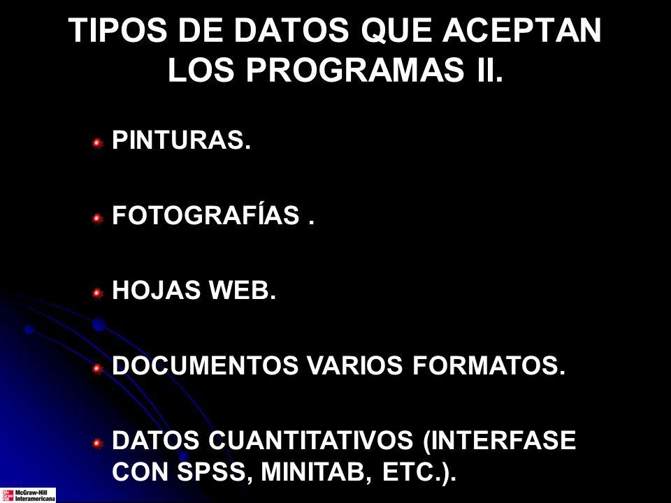 TIPOS DE DATOS QUE ACEPTAN LOS PROGRAMAS II. PINTURAS. FOTOGRAFÍAS. HOJAS WEB. DOCUMENTOS VARIOS FORMATOS. DATOS CUANTITATIVOS (INTERFASE CON SPSS, MI
