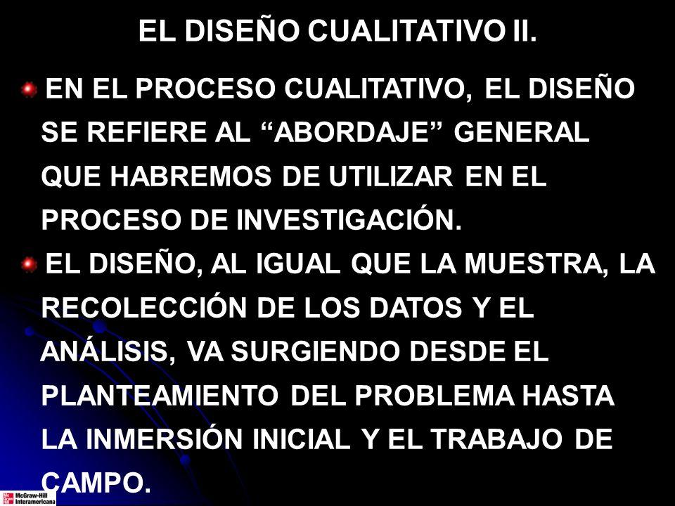 EL DISEÑO CUALITATIVO III.EL DISEÑO VA SUFRIENDO MODIFICACIONES.