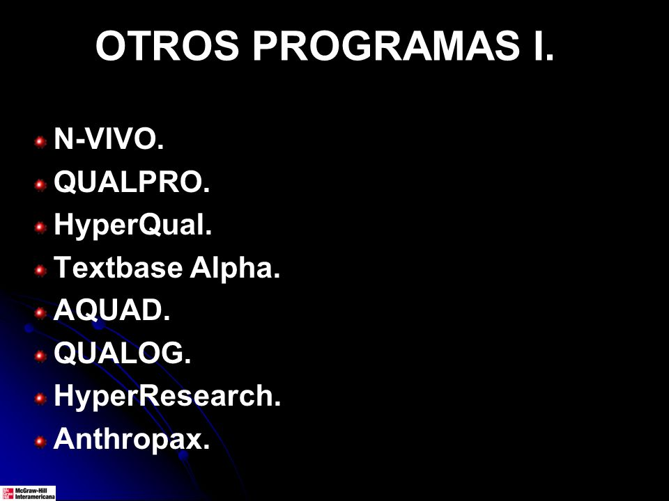 N-VIVO. QUALPRO. HyperQual. Textbase Alpha. AQUAD. QUALOG. HyperResearch. Anthropax. OTROS PROGRAMAS I.