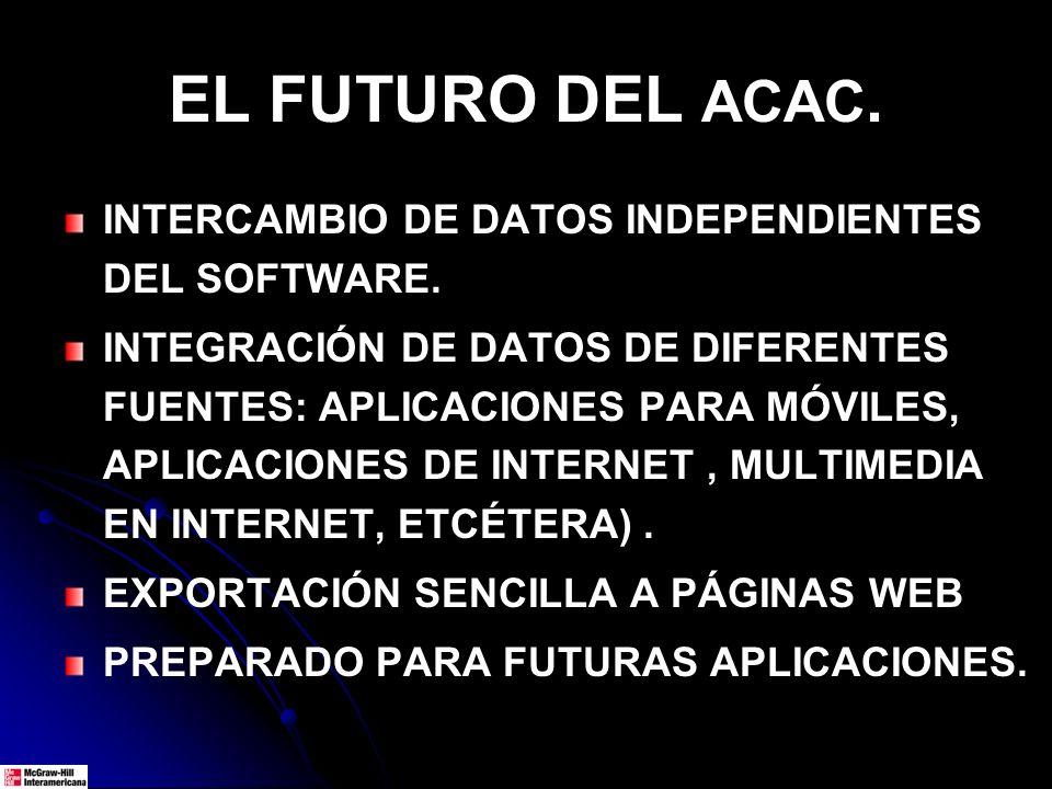 EL FUTURO DEL ACAC. INTERCAMBIO DE DATOS INDEPENDIENTES DEL SOFTWARE. INTEGRACIÓN DE DATOS DE DIFERENTES FUENTES: APLICACIONES PARA MÓVILES, APLICACIO