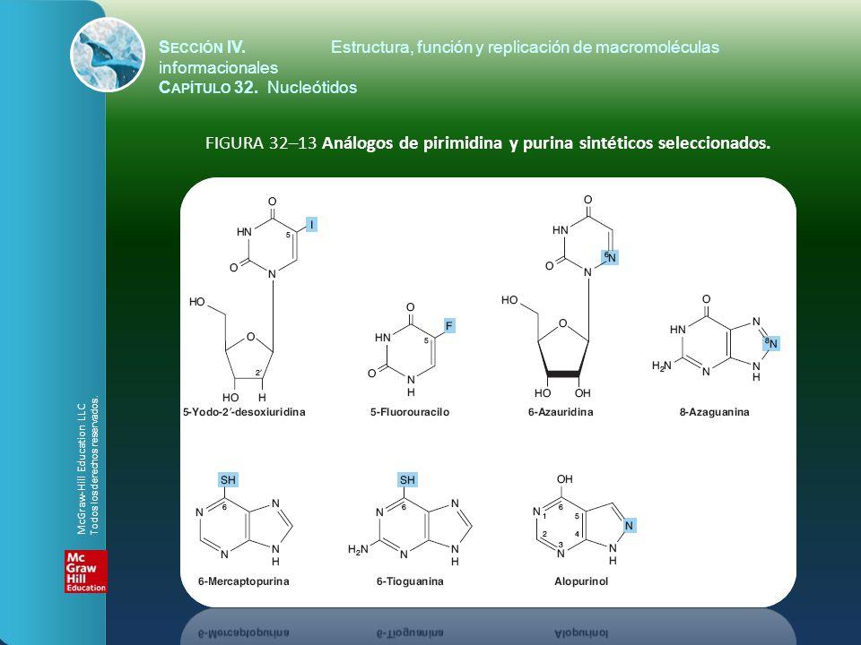 FIGURA 32–13 Análogos de pirimidina y purina sintéticos seleccionados. S ECCIÓN IV.Estructura, función y replicación de macromoléculas informacionales