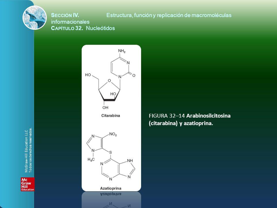 FIGURA 32–14 Arabinosilcitosina (citarabina) y azatioprina. S ECCIÓN IV.Estructura, función y replicación de macromoléculas informacionales C APÍTULO