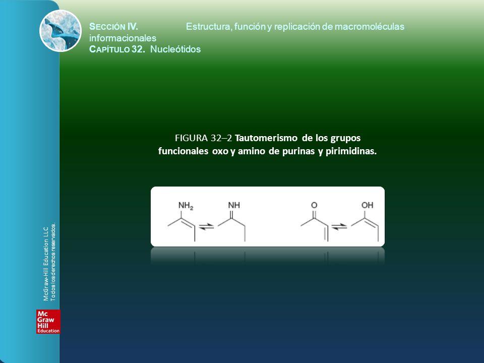 FIGURA 32–2 Tautomerismo de los grupos funcionales oxo y amino de purinas y pirimidinas. S ECCIÓN IV.Estructura, función y replicación de macromolécul