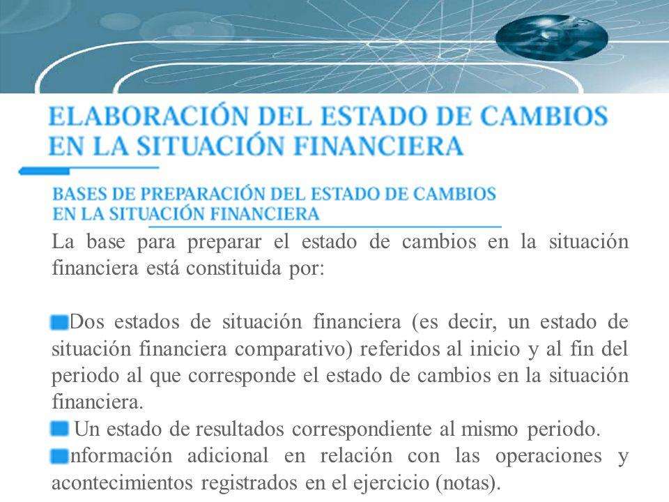 La base para preparar el estado de cambios en la situación financiera está constituida por: Dos estados de situación financiera (es decir, un estado d