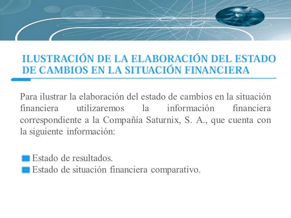 Para ilustrar la elaboración del estado de cambios en la situación financiera utilizaremos la información financiera correspondiente a la Compañía Sat